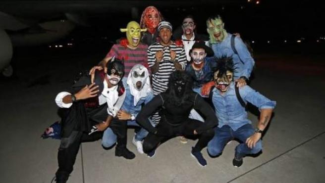 Los jugadores del Barça celebraron su 'particular' Halloween.