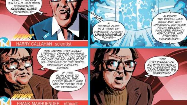 Una página de 'Sam Wilson: Capitán América nº2', en la que aparece Frank Marhuender.
