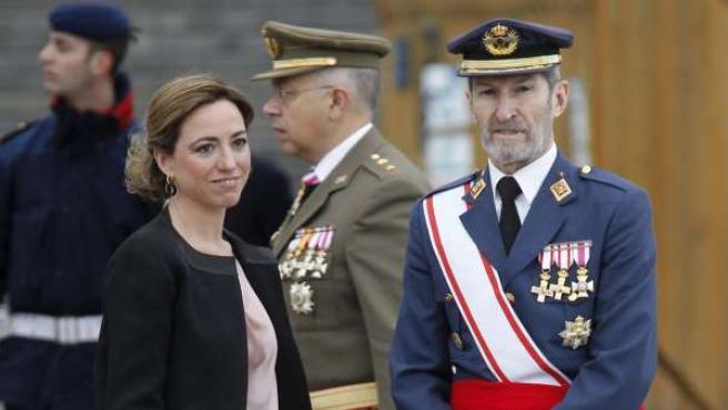 La ministra de Defensa, Carme Chacón, y el jefe del Estado Mayor de la Defensa (JEMAD), general José Julio Rodríguez.