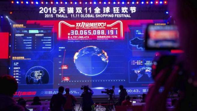 Imágen del Marcador que muestra las ventas de Alibaba en el Día del Soltero.