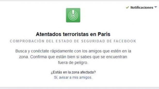 Alerta de Facebook por los atentados terroristas de París.