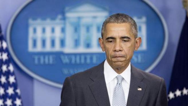 El presidente de los Estados Unidos Barack Obama, tras presentar sus condolencias por los atentados en París.