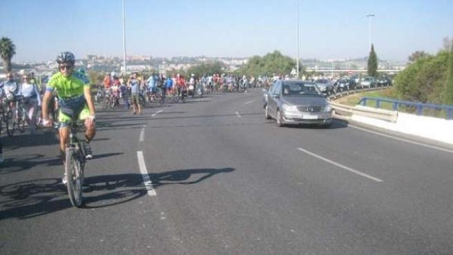 Marcha en bici hacia San Telmo.
