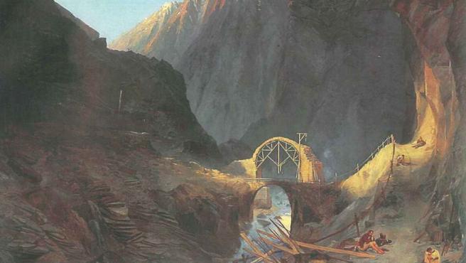 'Construyendo el Puente del Diablo', del romántico Carl Blechen