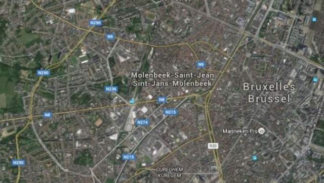 Vista vía satélite del barrio de Molenbeek, en Bruselas.