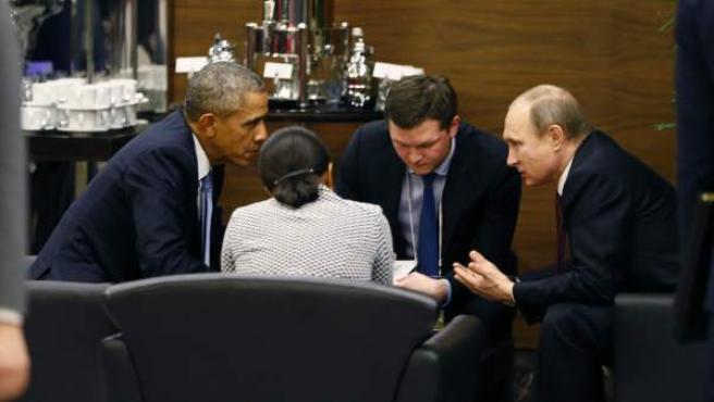 Cara a cara entre Barack Obama y Vladimir Putin en la cumbre del G-20 en Antalya, Turquía.