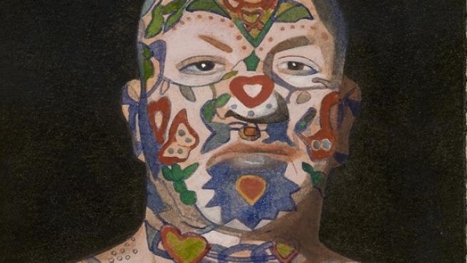 Acuarela de Peter Blake de un hombre tatuado