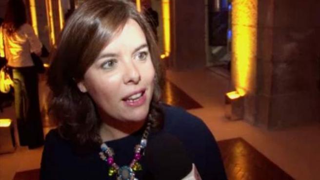Soraya Sáenz de Santamaría felicita al diario '20minutos' por su XV aniversario.