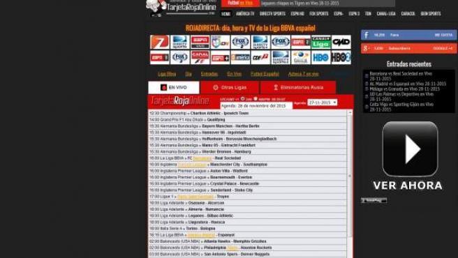 Web Tarjetarojaonline, el acceso actual para acceder a los enlaces que se ofrecían en Rojadirecta.
