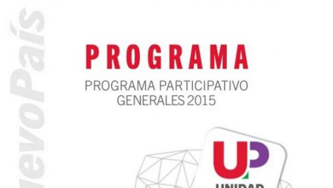 Primera página del programa electoral de Unidad Popular para las elecciones del 20-D.