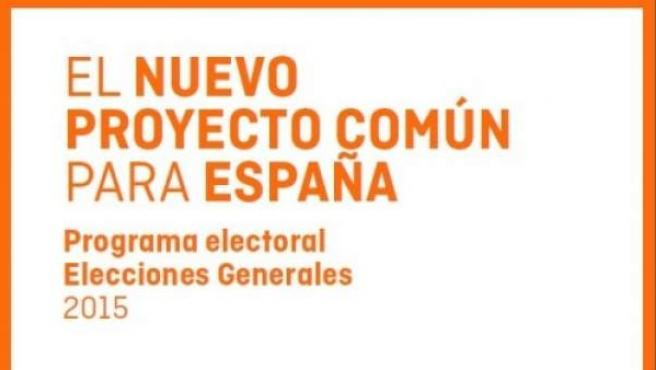 Primera página del programa electoral de Ciudadanos de cara a las elecciones generales del 20-D.