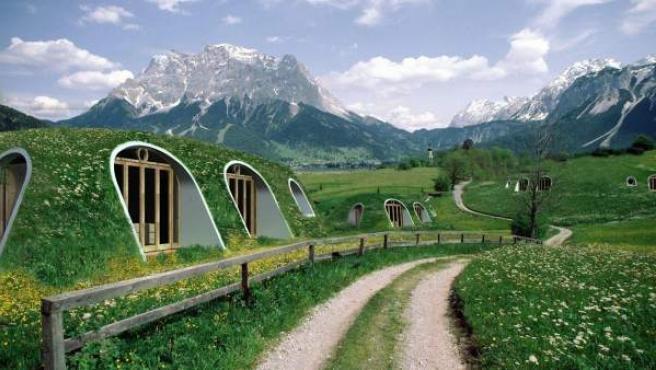 Una recreación digital de las casas que comercializa la firma estadounidense Green Magic Homes.