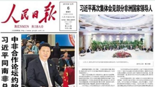 Portada de un periódico chino.