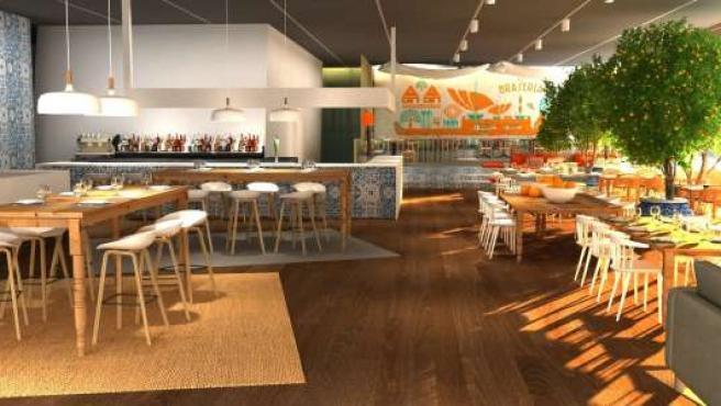 Diseño del restaurante Braseria de la planta baja del edificio