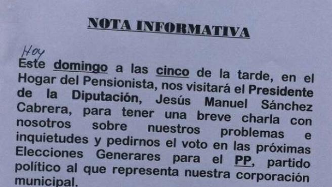 La nota colocada por el alcalde de Solana de Rioalmar
