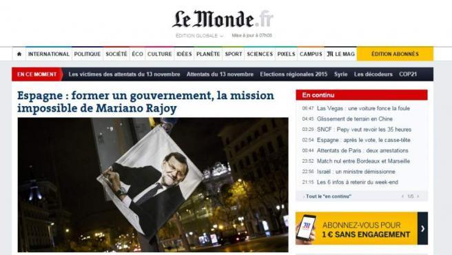 """Una captura de pantalla de la web de Le Monde, que abría sus informaciones con la elecciones españolas. """"España: formar gobierno, la misión imposible de Mariano Rajoy"""", titulaban."""