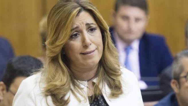 La presidenta de la Junta de Andalucía, Susana Díaz, en una de sus intervenciones en la sesión de control al ejecutivo.