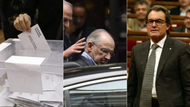 De izquierda a derecha, una imagen de las elecciones generales, la detención de Rodrigo Rato y el presidente de la Generalitat en funciones, Artur Mas.