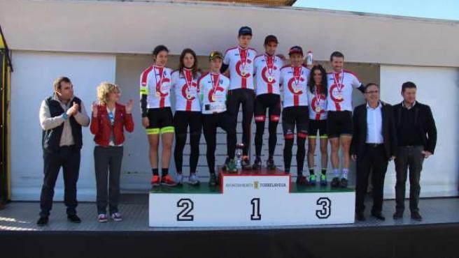 Podio del Campeonato de Ciclocross de Cantabria