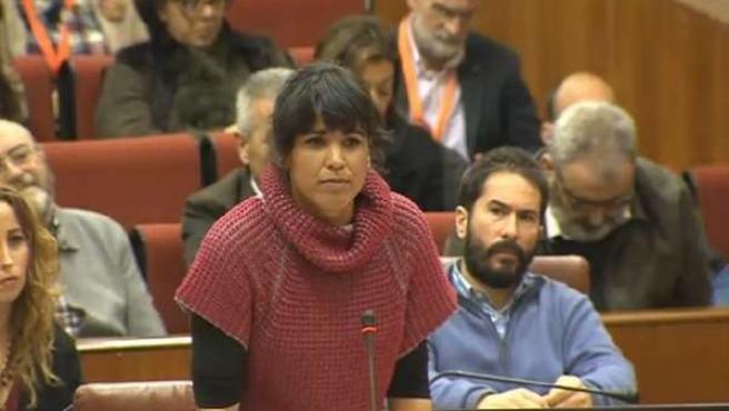 La secretaria general de Podemos Andalucía, Teresa Rodríguez, en el Pleno