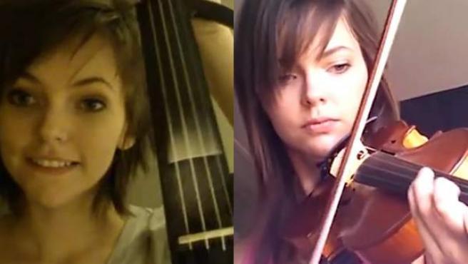 Dos imágenes de Violin Noobie en su proceso de aprendizaje.
