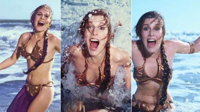 Carrie Fisher, como la Princesa Leia, en la playa promocionando el Retorno del Jedi.