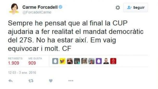 Tuit de Carme Forcadell.