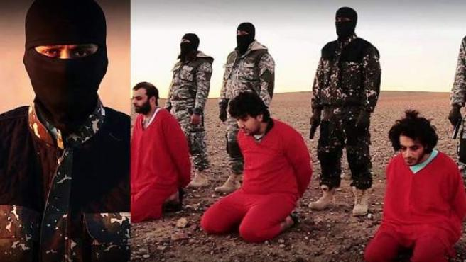 Capturas del vídeo lanzado por Estado Islámico, en cuya versión original se muestra a un niño lanzando una advertencia.