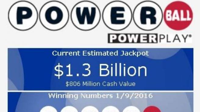 Anuncio del bote récord de la lotería Powerball en Estados Unidos.