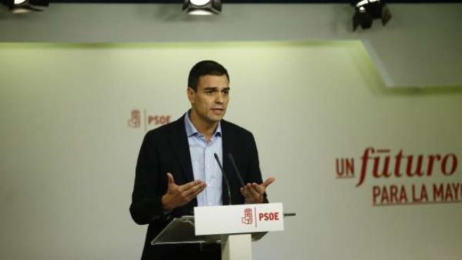 Pedro Sánchez tras la reunión de la Ejecutiva Federal del PSOE