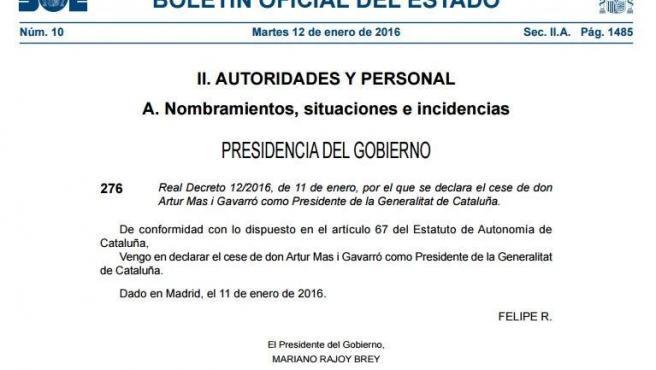 Despedida de Artur Mas el martes 12 de enero firmada por el Mariano Rajoy y Felipe VI.