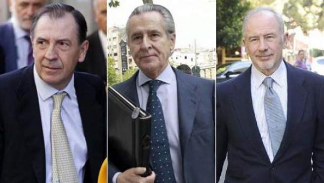 Sánchez Barcoj, Miguel Blesa y Rodrigo Rato.