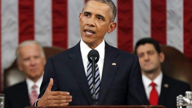 El presidente de Estados Unidos, Barack Obama, visto el martes 12 de enero de 2016 durante su discurso del Estado de la Unión en el Capitolio en Washington (Estados Unidos).