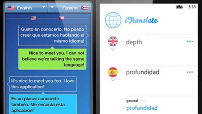 Diferentes aplicaciones móviles que traducen decenas de idiomas.