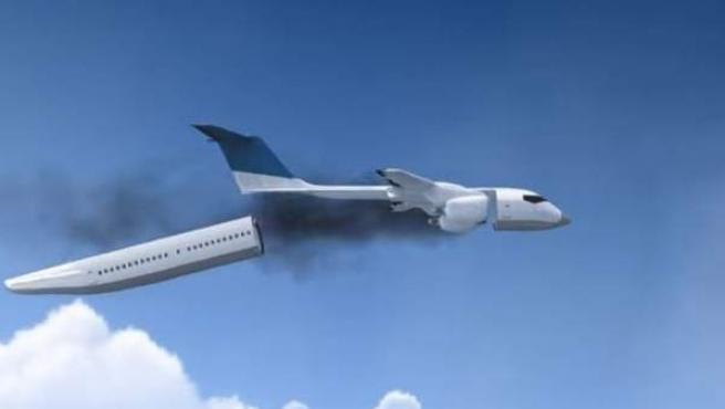 Recreación digital del invento de un ingeniero ruso para evitar muertes en accidentes de aviación.