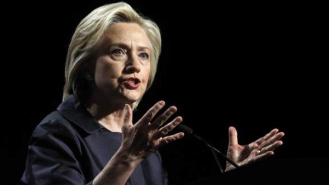 La precandidata demócrata estadounidense Hillary Clinton, durante una conferencia en San Francisco (EE UU).