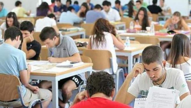 Universitarios en una biblioteca.