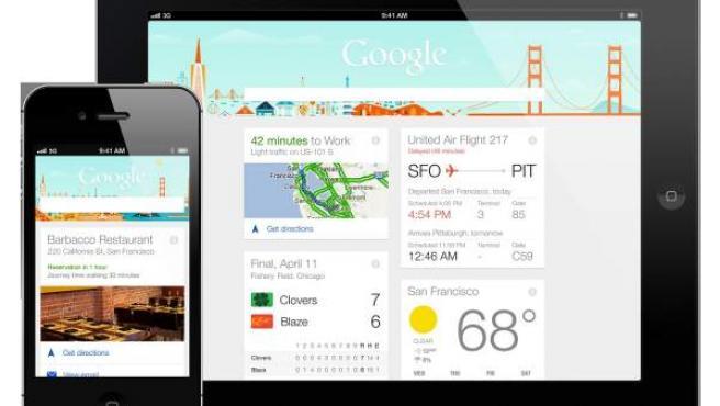 Imagen de un iPhone y un iPad con el buscador de Google.