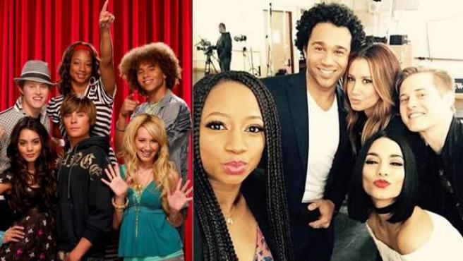 Los actores de High School Musical, hoy y hace 10 años (izda).