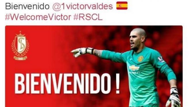 Tuit con el que el Standard de Lieja anunció la cesión de Víctor Valdés.