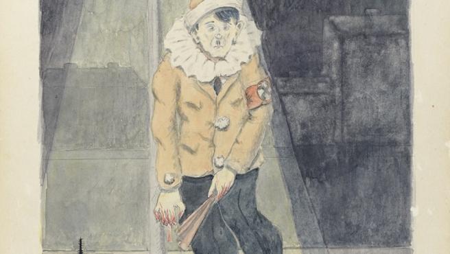 Hitler pintado como un payaso fracasado por el checo Pavel Fantl