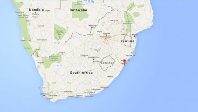 Ubicación de la localidad sudafricana de Durban.
