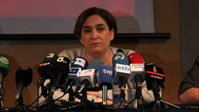 Ada Colau, alcaldesa de Barcelona, durante la rueda de prensa del 25 de enero de 2016.