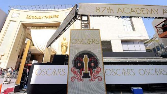Preparativos de la 87 edición de los premios Oscar, en febrero de 2015.