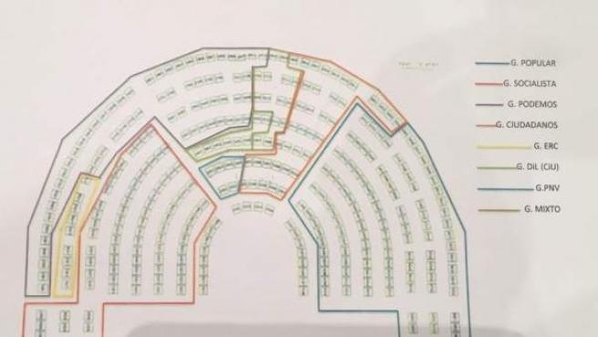 Distribución del Congreso de los Diputados en la que Podemos queda relegado al 'gallinero'.