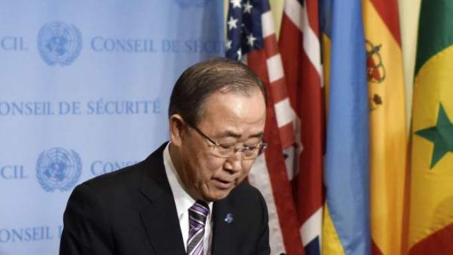 El secretario general de la ONU, Ban Ki-moon durante una rueda de prensa celebrada en la sede de la ONU en Nueva York.