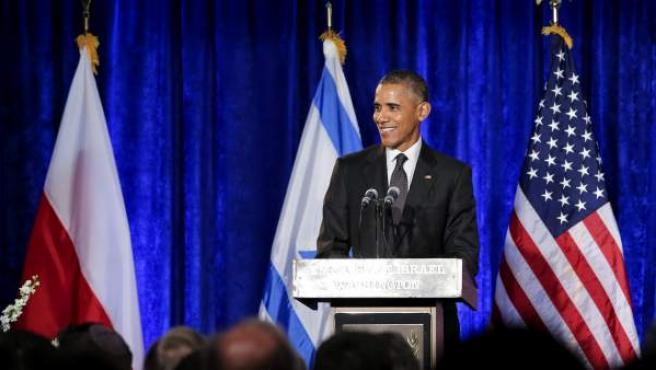 El presidente de Estados Unidos, Barack Obama, durante una ceremonia para conmemorar el Día Internacional del Holocausto.