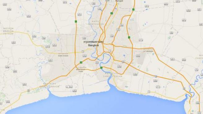 Río Chao Phraya, Bangkok, en el mapa.