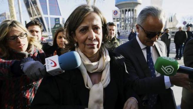 Carmen Navarro, tesorera del PP, a su llegada a los juzgados de Plaza de Castilla.