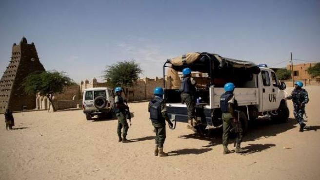 Soldados malienses de la Minusma, en Tombuctú